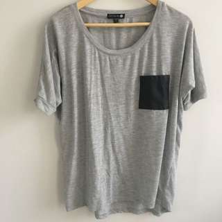 Basic gray T with pleather pocket