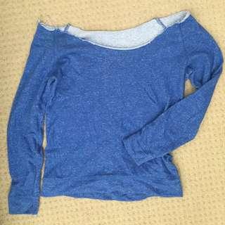Off The Shoulder Loose Blue Jumper Sweater