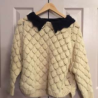 Knitted Collared Oversize Sweater