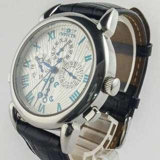 Invicta Men's Moon Phase Month Day Date Sapphire Leather Swiss Quartz Watchrolex omega rado seiko casio