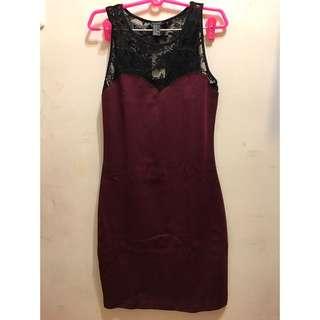 Forever21 緊身蕾絲洋裝 酒紅色
