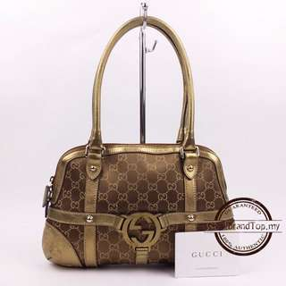 Gucci Interlocking Grip G Pattern Canvas Shoulder Bag