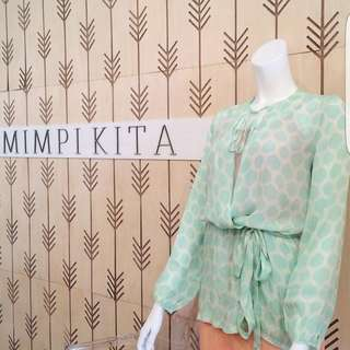 Mimpikita clover wrap top in mint green