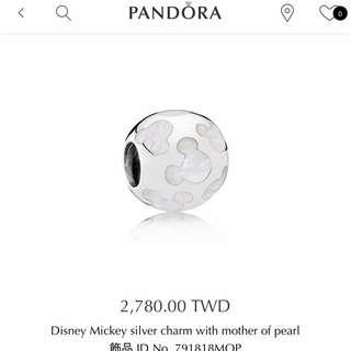 PANDORA潘朵拉 新款 Disney 米奇 珍珠母貝 串珠Charm