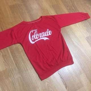 🚚 美式休閒 CocaCola 紅色長袖上衣