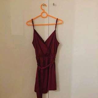 Burgundy Satin Dress (size 8)