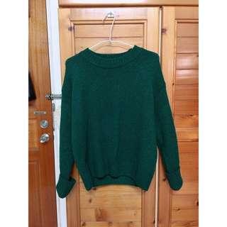 綠色針織圓領毛衣 - S
