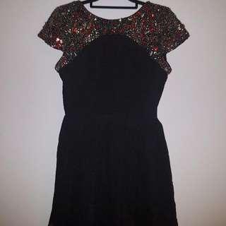 Topshop Petite Open Back Embellished Skater Dress