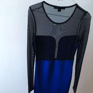 Mesh Black And Navy Mini dress