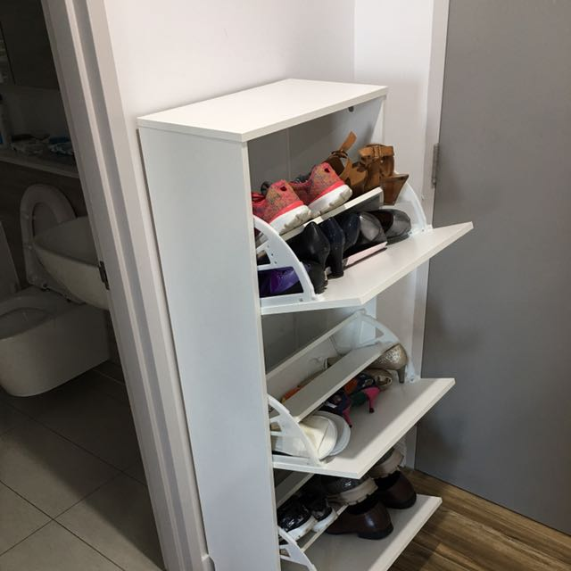 1 Used Ikea Shoe Cabinet With 3 Compatments