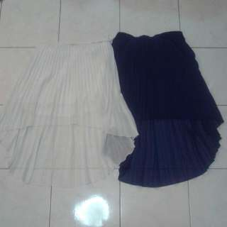 High Low Pleated Skirts