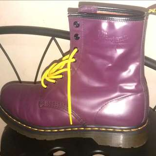 DR MARTENS 1460 PURPLE SMOOTH LEATHER 8 EYELET BOOTS