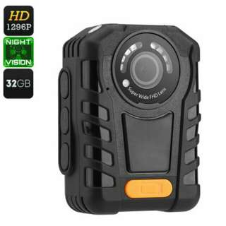 Police Body Cam - IP65 Waterproof, Night Vision, 1296p Resolution, Time Stamp, 2 Inch Display, 140 Degree Lens, 32GB Memory (CVAGJ-DV150-32GB)