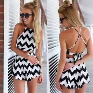 Croptop Halter Motif + Celana Motif ZIg zag # Setelan Baju Pantai # Dress Pantai # Short top # Baju Pendek # Tank top # Baju