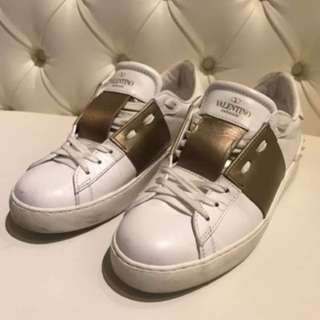 Valentino Open Leather Sneaker In White + Gold
