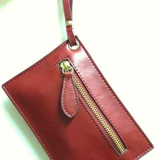 棗紅色真皮卡片/散子包包