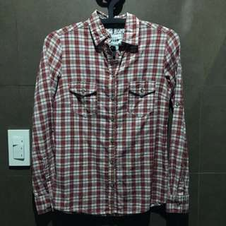 Mango Red Checkered Long Sleeved Polo