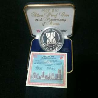 Singapore 1987 $10 Silver Proof Coin 20th Anniversary Of Asean With COA