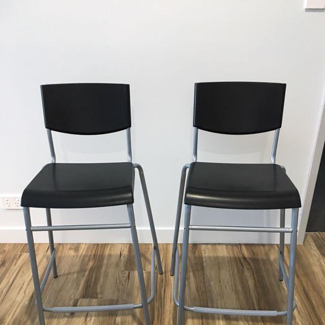 2 Ikea Bar Stools With Backrest
