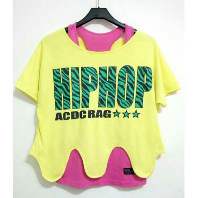 🌸春裝✨(一套)品牌特色休閒短袖上衣—黃色