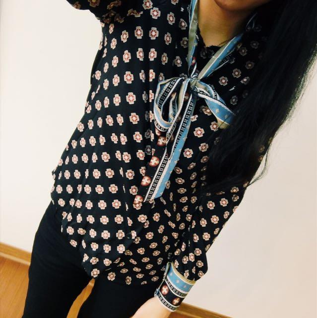 蝴蝶結裝飾復古印花雪紡襯衫
