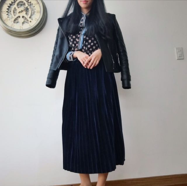 濃濃復古味絕美寶石深藍絲絨百折長裙