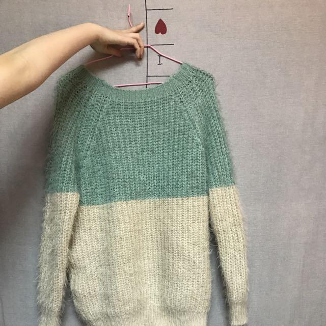 拼色針織毛衣