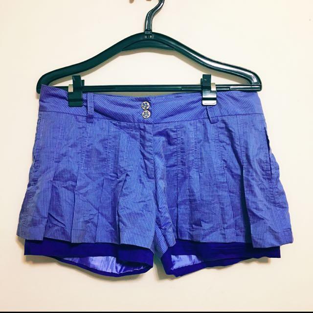 專櫃 百搭青春活潑可愛百褶假兩件短褲裙  寶藍