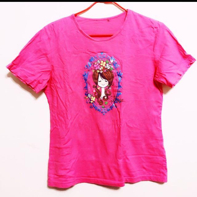 二手 印花 桃紅 純棉 T恤