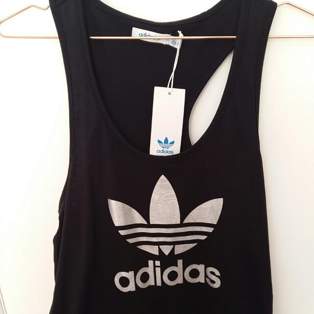 Adidas Black Tank Top Silver Trefoil Logo