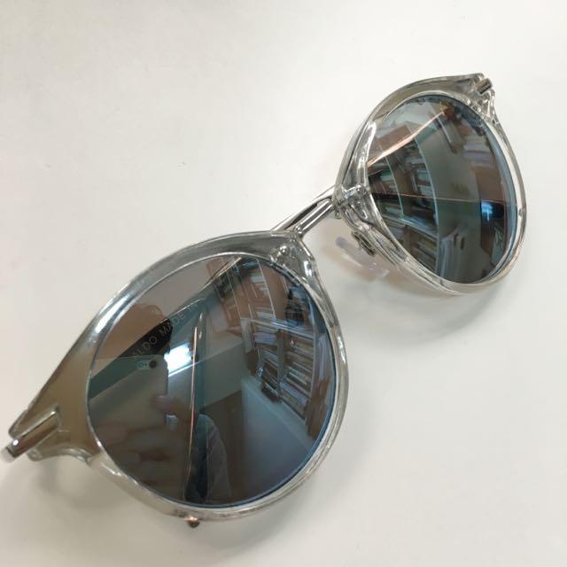 ALDO 銀框金屬 水銀 藍 鏡面 復古 太陽眼鏡