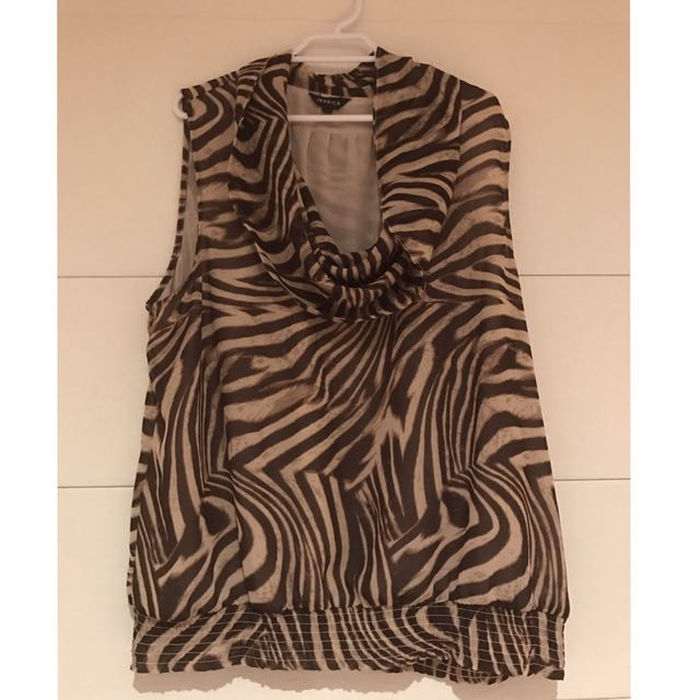 Animal Print Cowl Neck Blouse
