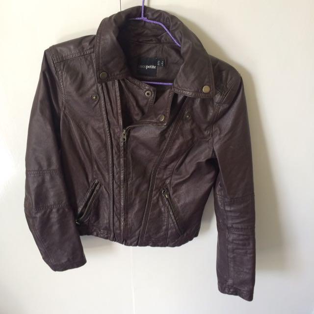 Asos Petit Faux Leather Jacket Size 6 (brown)