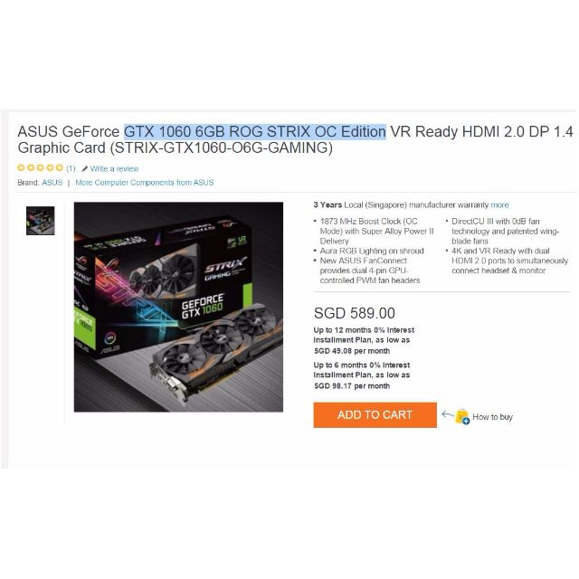 Asus REPUBLIC OF GAMERS Strix GTX 1060 (OC Edition)