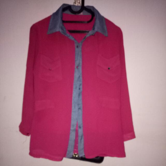 Atasan Kemeja Blouse Pink Fanta