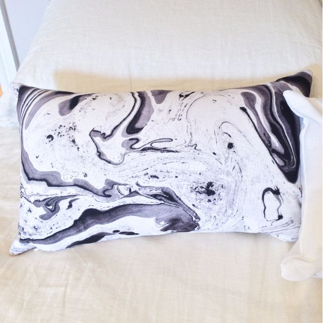 "Black & White Marble Print Throw Pillow, 20""x12"""