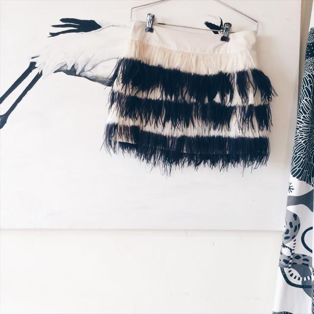 CLUB MONACO Ostrich Feather Mini Skirt