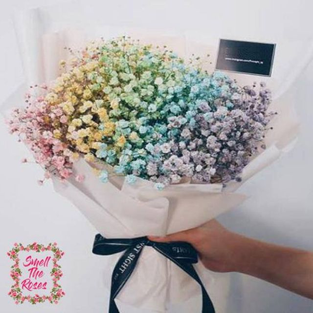 Colours Of The Rainbow Baby Breath Luxury Surprise Bouquet W Free