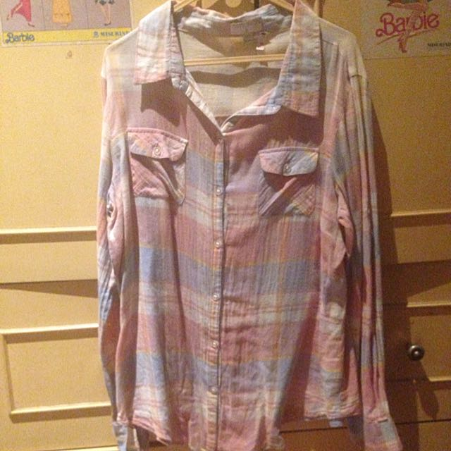 Cotton On Flanel Shirt Pink