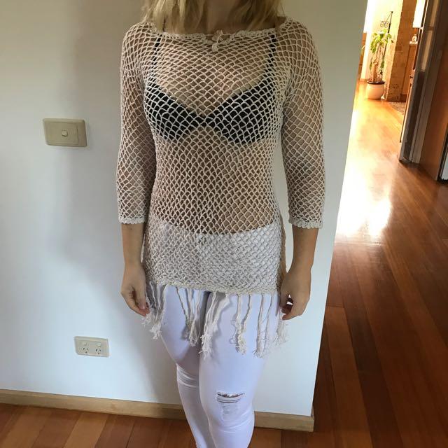 Crochet Long Sleeve Top Or Dress