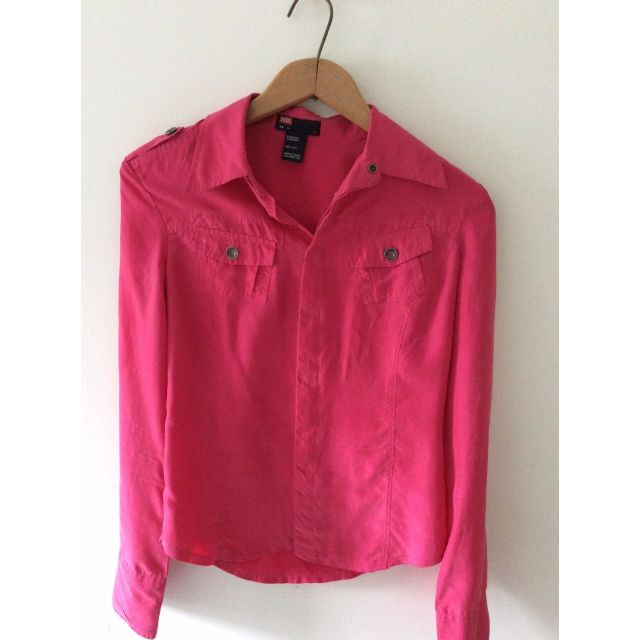 Diesel Hot Pink 100% Silk Blouse, Size; Medium