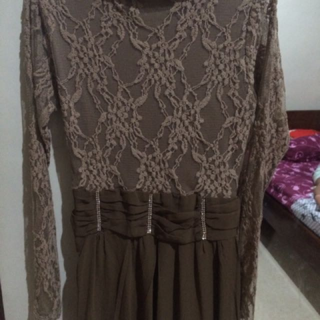 Dress Brukat Kombi Sifon