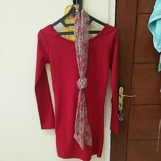 Dress Merah + Scarf