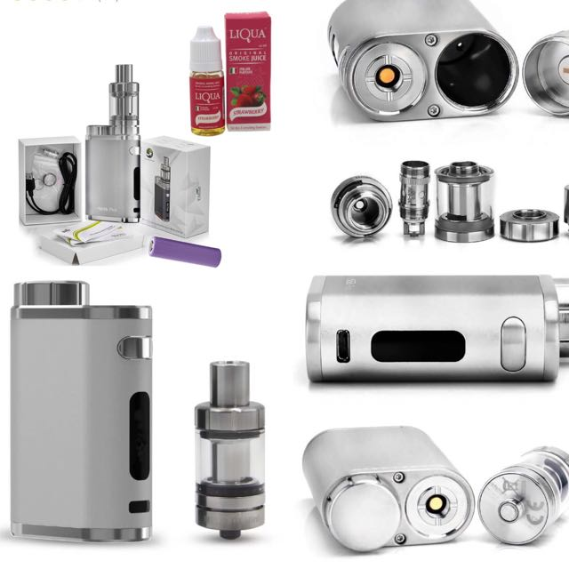 Eleaf iStick Pico 75W Starter Kit Cigarette With Battery (Silver) With Liqua Smoke Juice for Electronic Cigarette (StrawBerry)