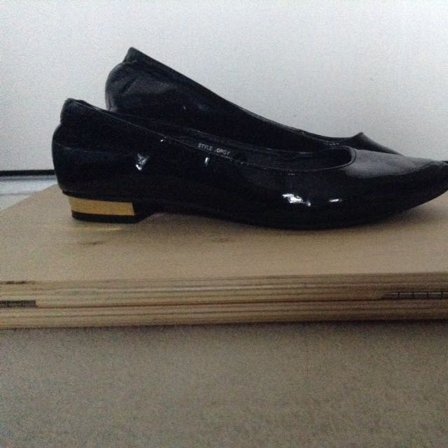 Emerson Black And Gold Flats