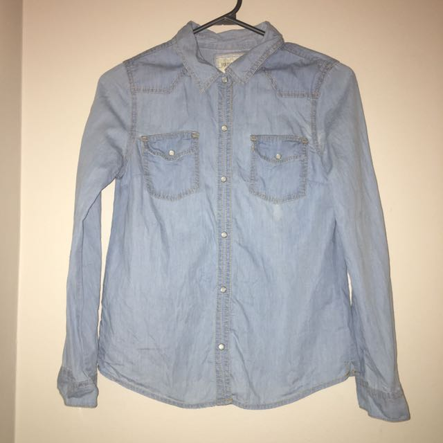 F21 Denim Long Sleeved Shirt