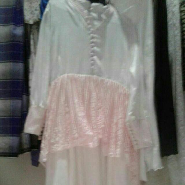 Gaun Pengantin Ukuran Xl Warna Putih Salur Pink Women S Fashion