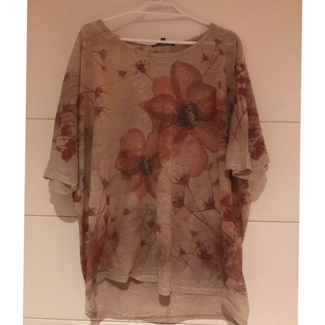 Gold Glitter Flower Shirt