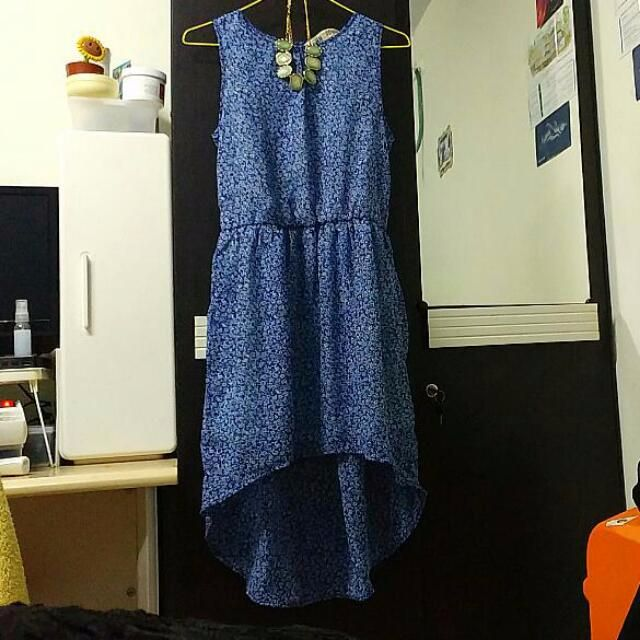 H&M Blue Floral Chiffon Dress
