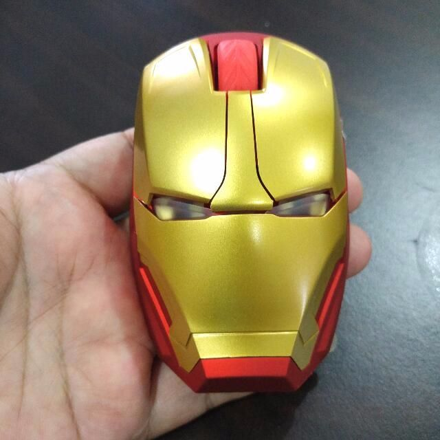 Ironman Theme Wireless Mouse With Led Light Marvel Avengers Iron Man Electronics Computer Parts